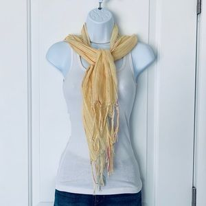 Yellow summer scarf with tassels EUC